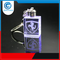 Best Quality Crystal Gifts Souvenirs, 3D Engrave Logo Crystal Keychain, Engraved Crystal Key Chain with LED