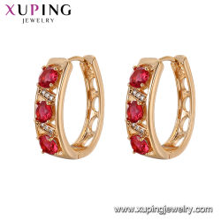 Fashion Diamond Classic Rainbow Crystal Huggie Gold Plating Colored Self Piercing Hoop Earrings