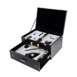 Luxurious Leather Box Automatical Wine Opener and Accessory Gift Set