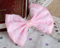 Design Fashion Pink Lovely Lace Bowtie Hairpin Pet Accessories