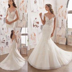 689467fd2 Elegant Sex Fashion Ivory Lace Mermaid Bridal Gown Wedding Dresses (5509)