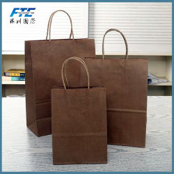Custom Logo Printed Brown Kraft Paper Shopping Bag