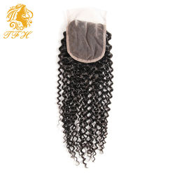 Factory Outlet Price 100% Virgin Brazilian Kinky Curly Lace Closure New Way Hair Products Lace Closure Free Part 8A 4*4 1PC