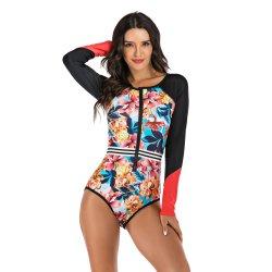 Surf Wear Swimwear Women Long Sleeve Swimsuit One Piece Bathing Suit Female Swimming Suit for Women Miao Beachwear Rush Guard