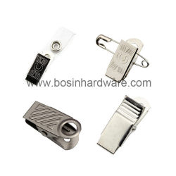 Metal Badge Clip with Clear Vinyl Strap