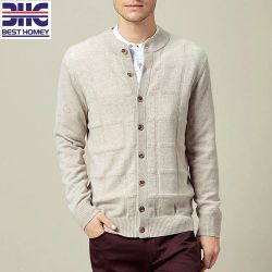 bbc073976e7a1 Mens 100%Cashmere Chess Stitch Knitted Crew Neck Cardigan with Button