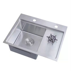 Black SUS304 Stainless Steel Single Bowl Handmade Sink with Cup Rinser