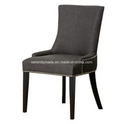 Wholesale Restaurant Wooden Frame Beige Nailhead Trim Fabric Dining Chair
