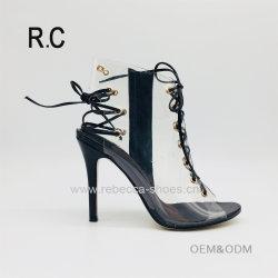 4e4c4d7b7fa03c China Wholesale Fashion Shoes Transparent Lace up PVC Stiletto High Heel  Sandals