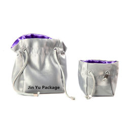 Custom Luxury Silver PU Leather Jewelry Gift Packaging Pouch Bags