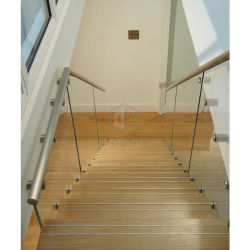 Metal Straight Staircase Glass Balustrade Fittings Oak Stair Treads