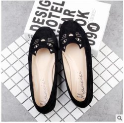 Wholesale Round Head Shallow Mouth Embroidery Cute Cat Cat Flat with Flat Shoes