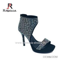 c92722142de Lady Sandals Suede with Rhinestone Stilettos Party Dress Shoes Wholesale