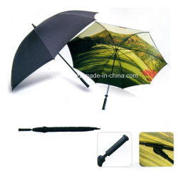 Customized Two Layers Grass-Forest Picture Straight Golf Umbrella