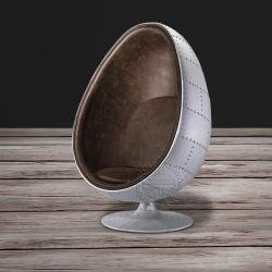 Popular Aviator Swivel Brown Leather Egg Chair