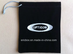 Black Velvet Jewelry Gift Pouch Bags with White Embroidery Logo