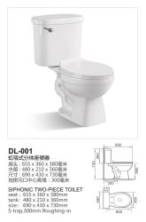 Siphonic Two-Piece Toilet Amercial Style Dl-001