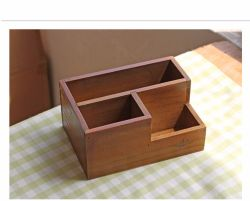 Multi-Use Office Decorations Solid Wooden Pen Holder