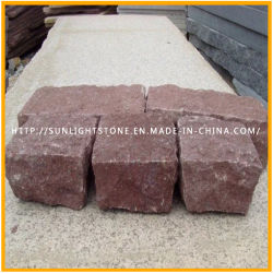 Natural Split Red Granite Cubic/Cubestone for Garden Landscape/Sidewalk Paving