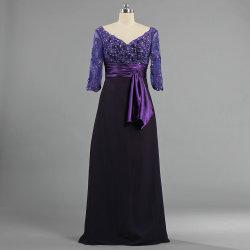 2b3e6f6b60 E564 Design V Neck Half Sleeve Lace Deep Purple Mother of The Bride Dresses