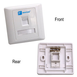86*86 RJ45 Jack Modular Keystone Faceplate, Single / 2 Port Faceplate