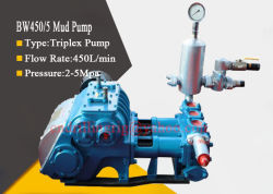 Bw450/5 Borehole Drilling Triplex Piston Mud Pump with 3 Bore and 4 Gear Speed