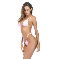 New Ladies Low Waist Double Sling Deep V Seamless Thong Bikini Solid Color Swimsuit