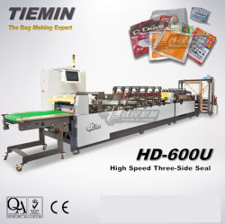 Tiemin Automatic High Speed Three Side Seal Bag Pouch Making Bagging Machine 600u Flexible Color-Printing Laminated Package PLC Computer Sealing