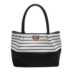 Fashion Stripe Print PU Tote Bag Shoulder Handbag in Large Capacity 2018 Lady Fashionable PU Leather Tote Women Designer Handbags