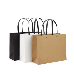 Custom Printing Advertising Wholesale Promotional Gift Bag Eco Friendly Kraft Paper Garment Shopping Bag