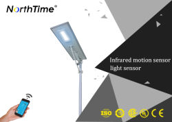 All in One Solar Street Light with PIR Sensor, Long Working Time Solar Street Light with APP Mobile Control