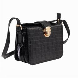 b8fa430c17 Genuine Leather Black Croco Pattern Handbag Wholesale Women Bags