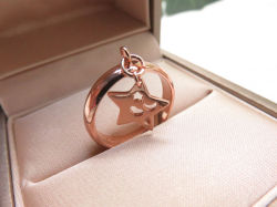 Rose Gold Over Cooper Dangle Hollow Star Charms Jewelry Ring