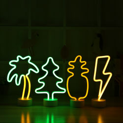 13.78X6.3inch Metal Pineapple Neon LED with Metal Base.