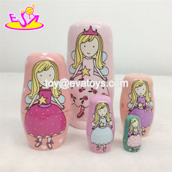 Customize Pink Wooden Russian Girls Nesting Doll for Wholesale W06D095