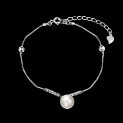925 Sterling Steel Bracelet Fashion White Shell Bead Young Silver Bracelet Rope Chain