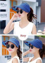 Sun Visor Hats for Women Large Wide Brim UV Protection Summer Beach Packable  Cap f65a4ba2d8f4