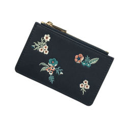 Lcq-0136 Newest Design Lady Bag Elegant Style Wallet Classical Embroidery Credit Card Holder Coin Purse for 2018
