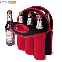 Water Bottle Carrier Tote Insulated Neopreane 6 Packs Wine Bottle Bag with Secure Carry Handle (Red)