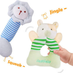 Plush Baby Soft Rattle Set, Hand Grab Sensory Toys, Organic Teether and Shaker, Shower Gifts for Newborn, Infant, Toddler, Boy, Girl
