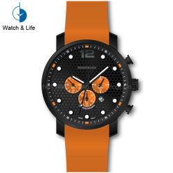 Stainles Steel Chronograph Sport Watch Silicon Band Men's Waterproof Wrist Watch