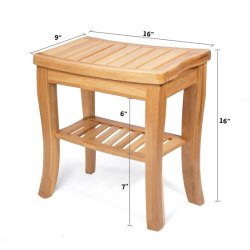 Home Goods Natural Bamboo Corner Shower Bench Seat with Storage Shelf,