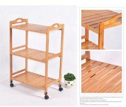 Handicraft Furniture Bamboo Shelves Rack with Wheel Wholesale