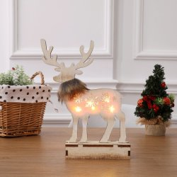 Christmas Decorations of Lighted Wooden Reindeer