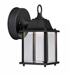 Outdoor Wall Light, Black with Clear Glass, 3000K Warm White Zl18501