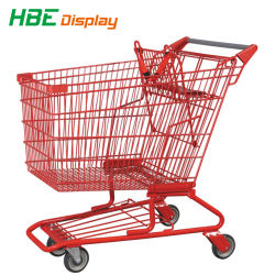 Plastic Sprayed Metal Supermarket Hand Cart Shopping Trolleys