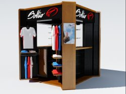 Shopping Mall Indoor Kiosk for Sports Ware, Garments, Slippers and Jewelry