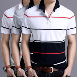 Cotton Sport Summer Simple Polo Shirt with Printed Stripe (CW-PS-8)