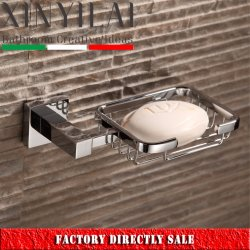 Bathroom Square Chrome Brass Wall Mount Wire Soap Dish