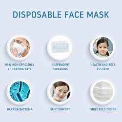 Hihg Quality Disposable Face Masks, Dustproof Anti Influenza Breathing Safety Masks for Women Men Outdoor Sport